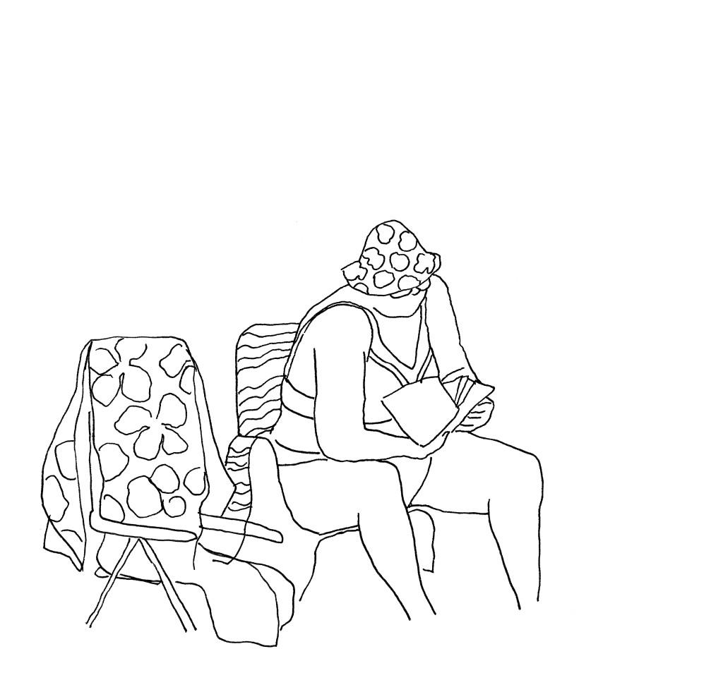 Schizzi-Lungomare-Donna che legge