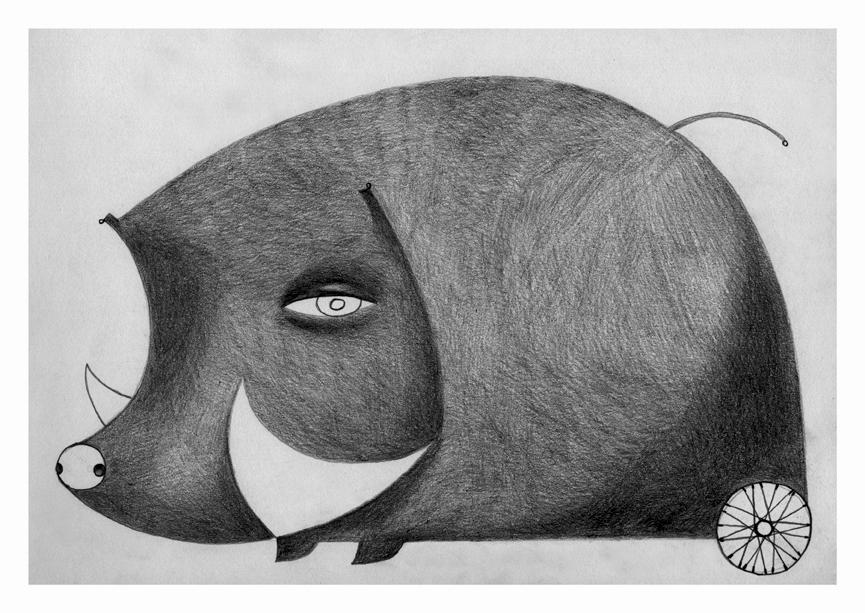 Illustrazioni-Animali automatici-Cinghiale al ferro