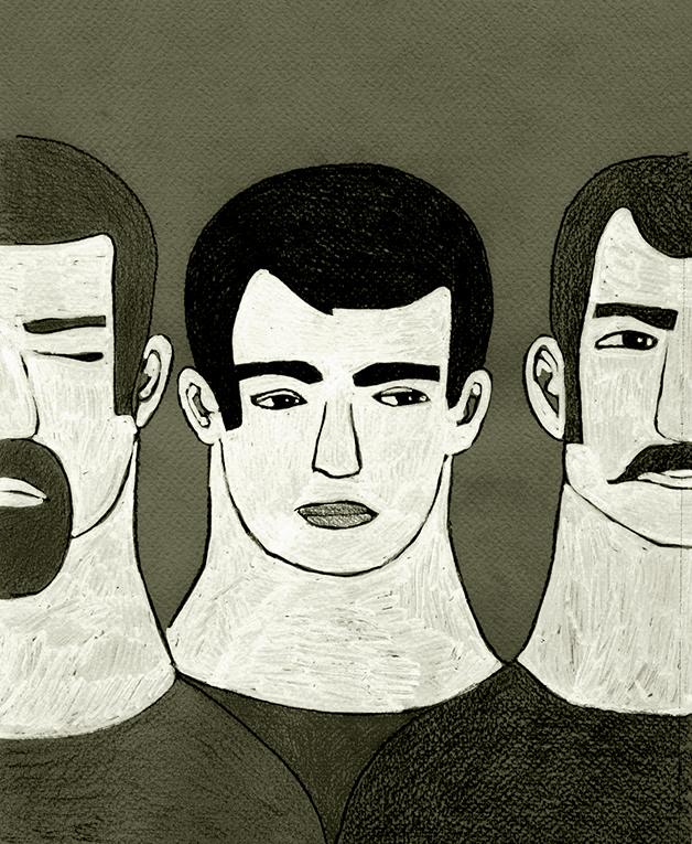 Illustrazioni-Studi sui volti-Tre uomini