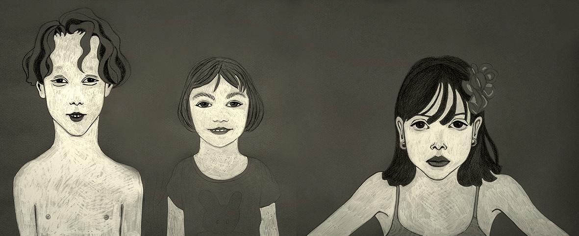Illustrazioni-Studi sui volti-Tre bambini